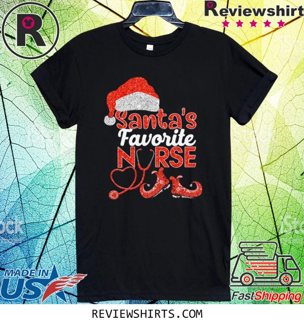 Glitter Santas Favorite Nurse Christmas 2020 T-Shirt