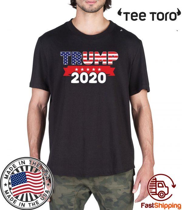 Donald Trump For President 2020 American Flag Pro Trump T-Shirt