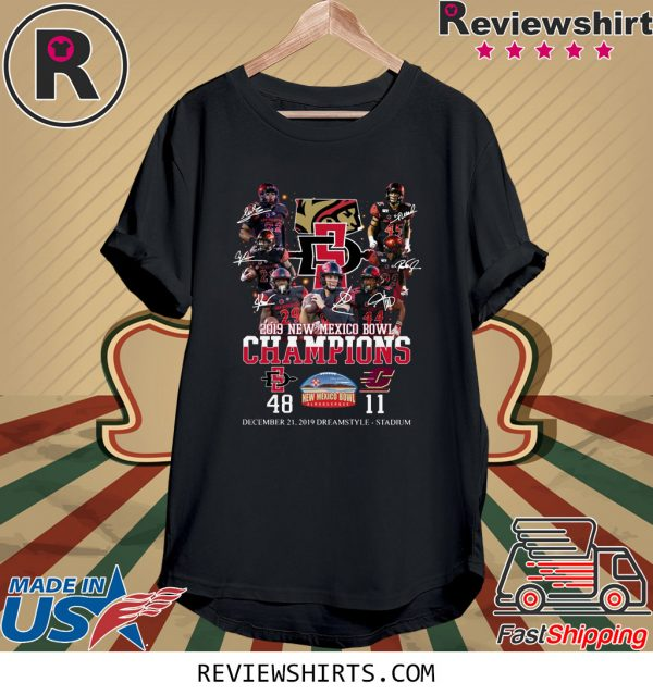 2019 New Mexico Bowl Champions Players Signatures T-Shirt