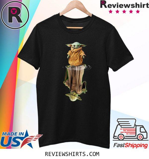 Baby Yoda and Master Yoda water reflection t-shirt