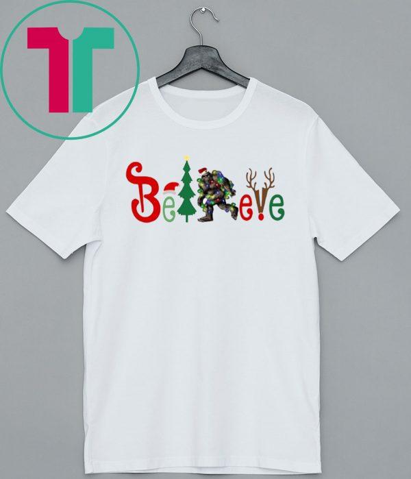 Bigfoot Believe Christmas T-Shirt