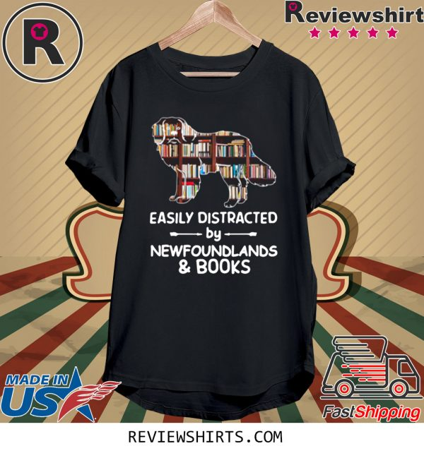 Easily Distracted By Newfoundlands And Books T-Shirt