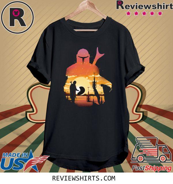 Mando Sunset Mandalorian Baby Yoda Tee Shirt