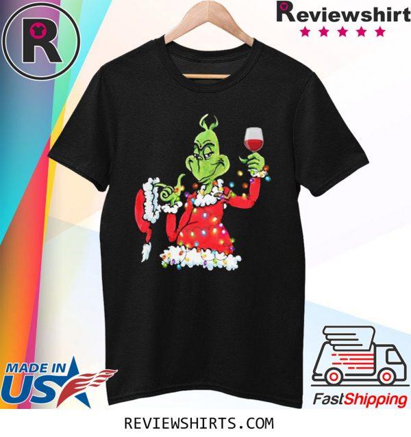 Santa Grinch Drink Wine Christmas Light Shirt