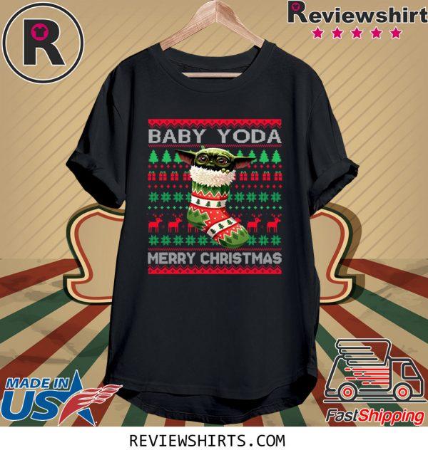 Socks Baby Yoda Merry Christmas Ugly Christmas Xmas T-Shirt