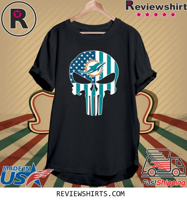 The Punisher Skull American Flag Miami Dolphins T-Shirt