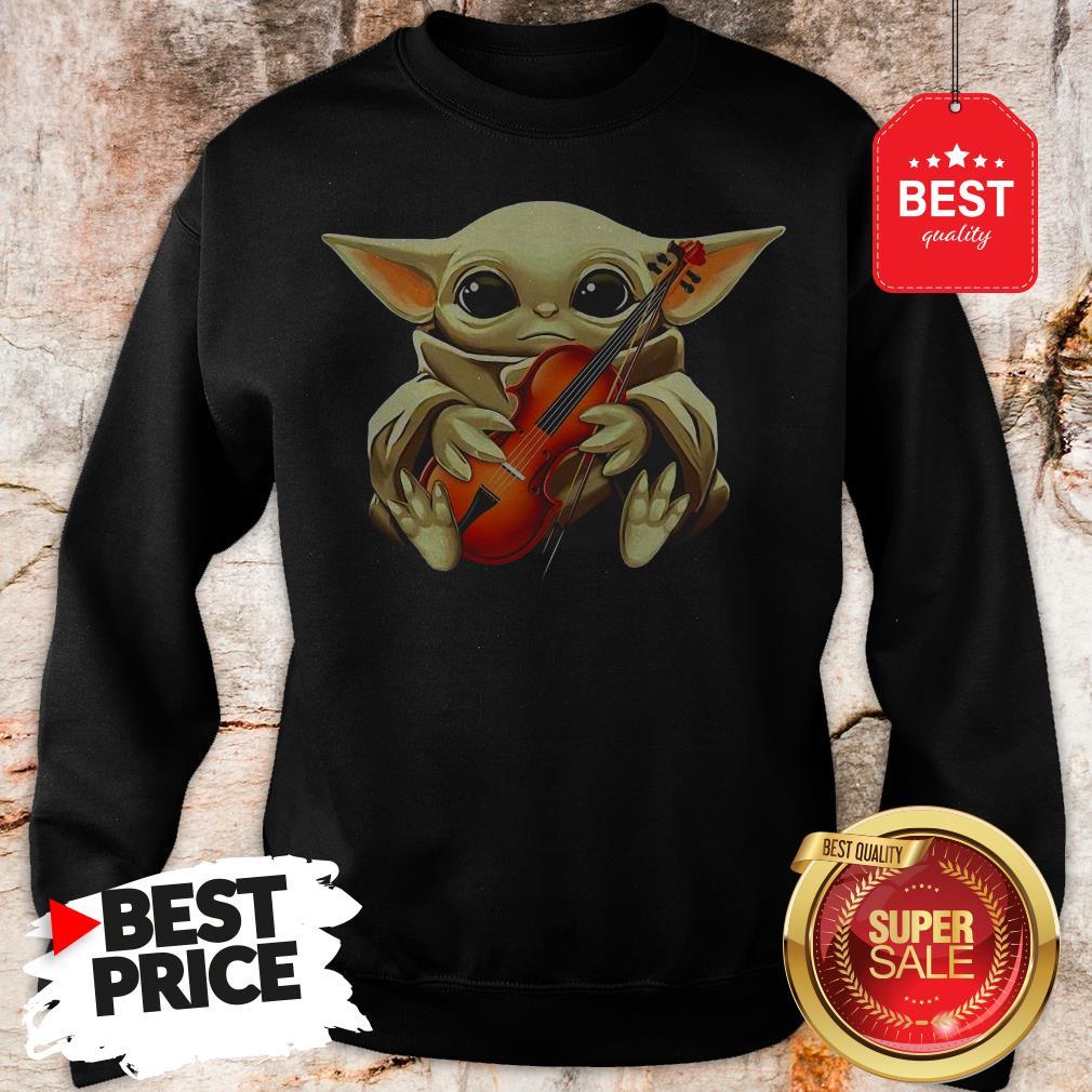 Beautiful Baby Yoda Hug Violin Sweatshirt