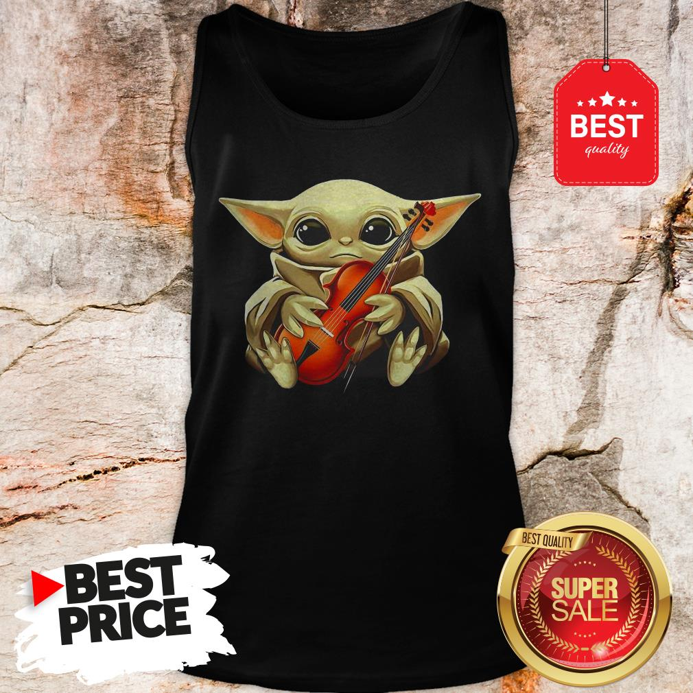 Beautiful Baby Yoda Hug Violin Tank Top