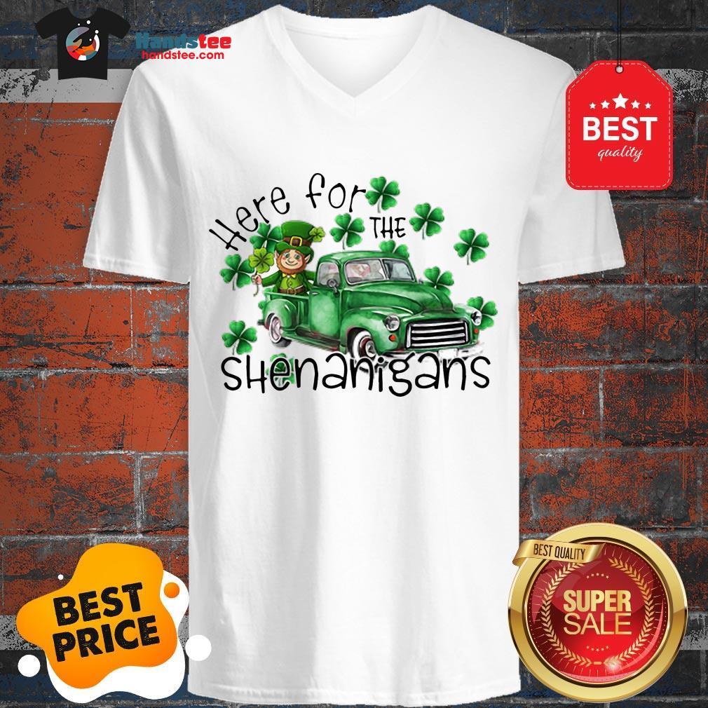 Beautiful Here For The Shenanigans Irish St. Patrick's Day V-Neck