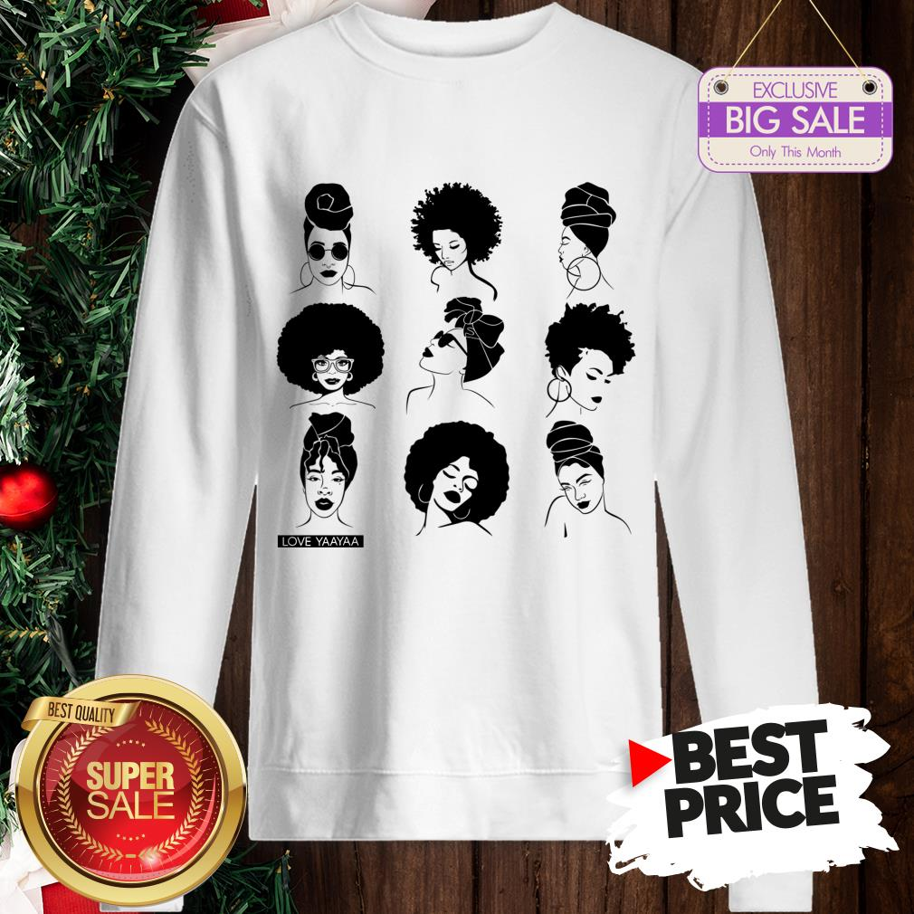Official Afro And Headwrap Ladies Afrocentric Love Yaayaa Sweatshirt