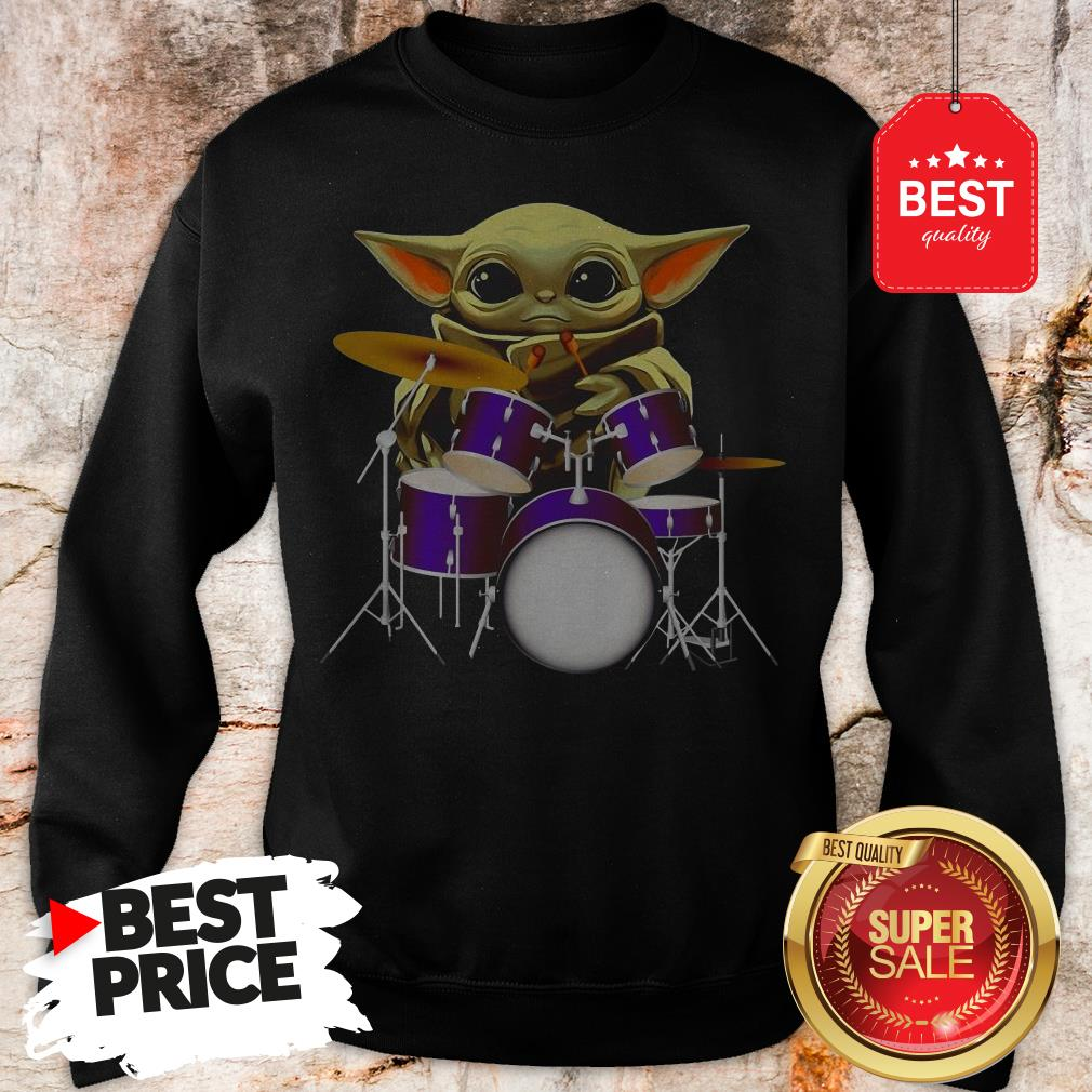 Official Baby Yoda Hug Drum Sweatshirt