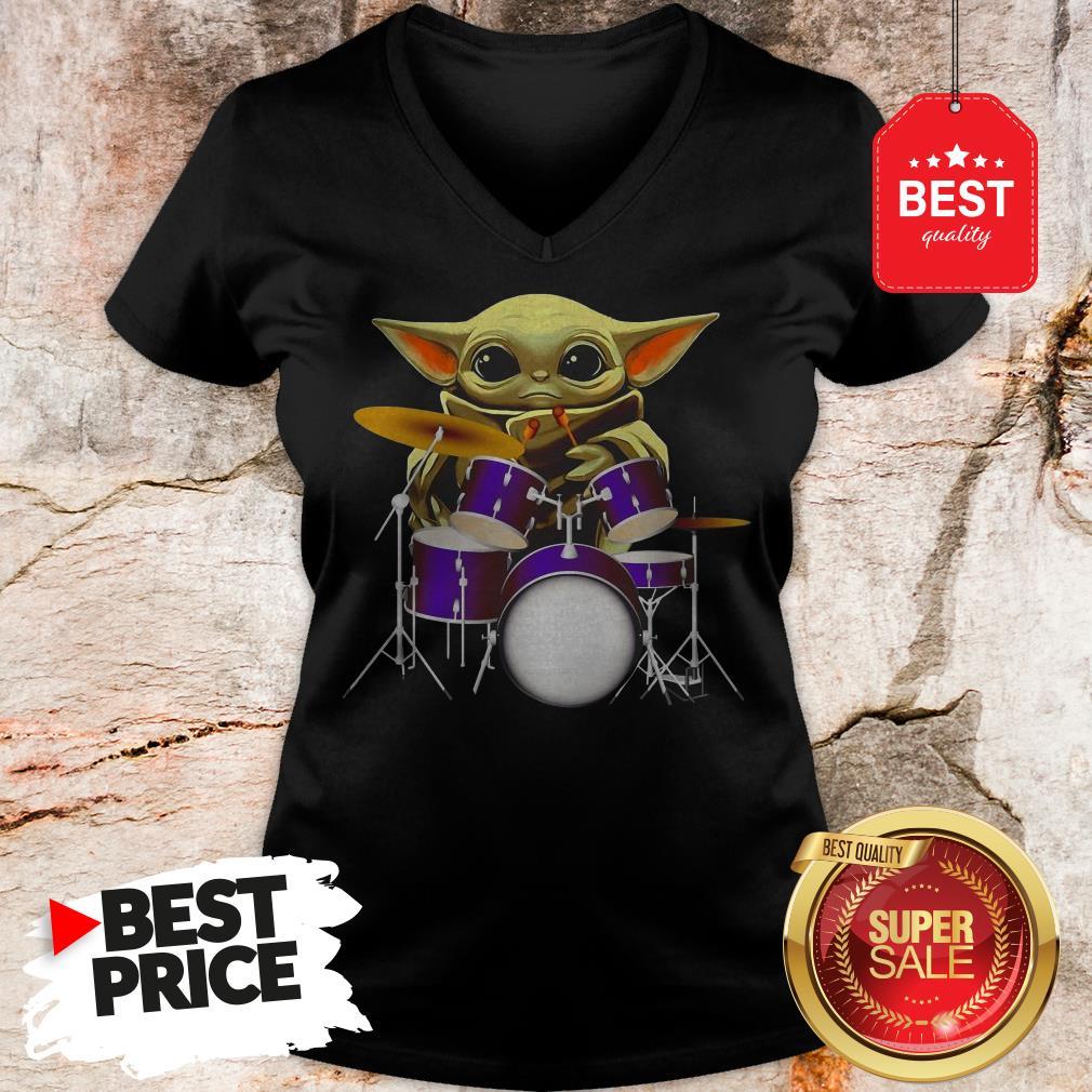 Official Baby Yoda Hug Drum V-Neck