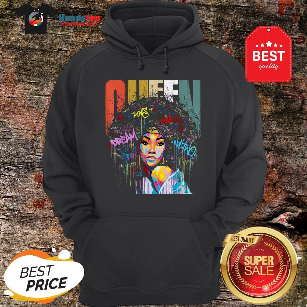 Official Black Women Queen Vintage Colorful Hoodie