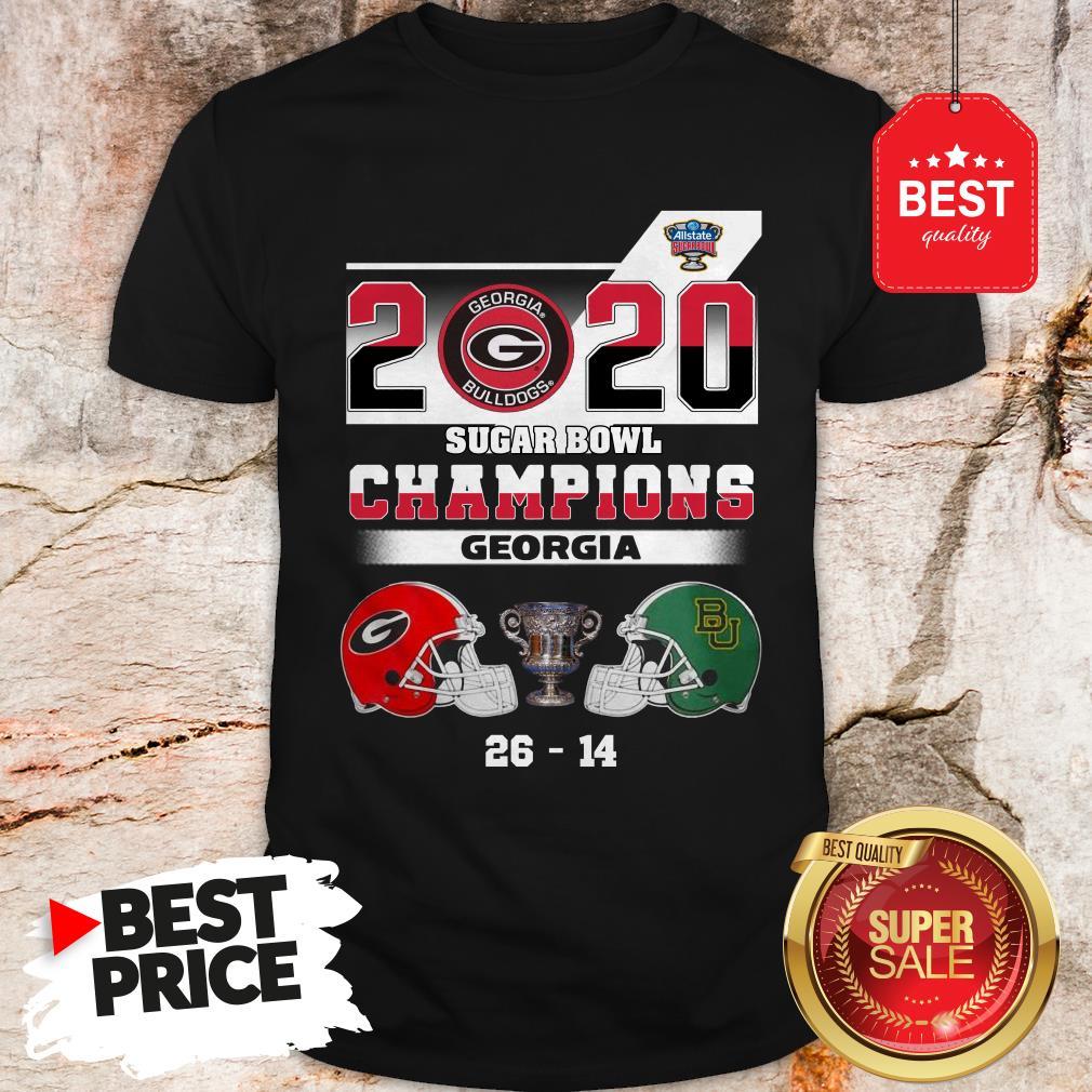 Official Georgia Bulldogs 2020 Sugar Bowl Champions Georgia 26 14 Shirt