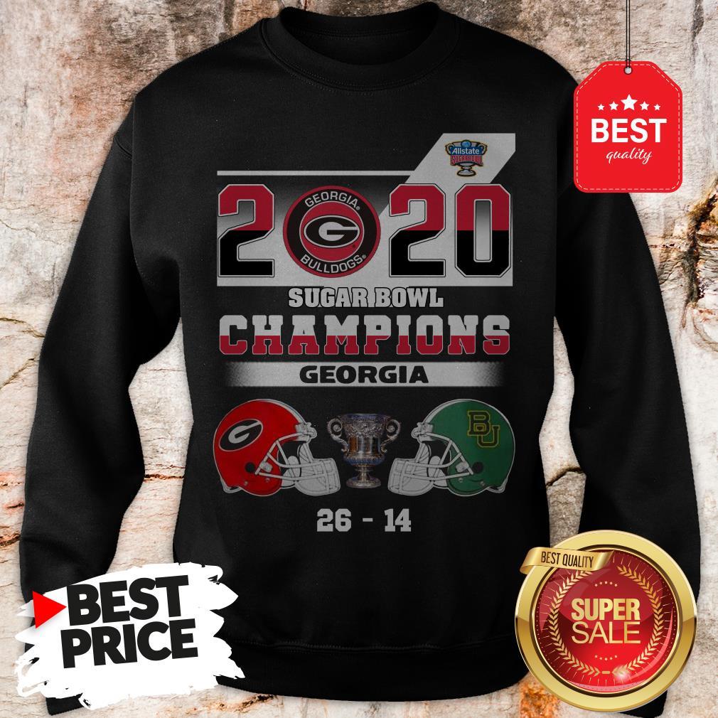 Official Georgia Bulldogs 2020 Sugar Bowl Champions Georgia 26 14 Sweatshirt