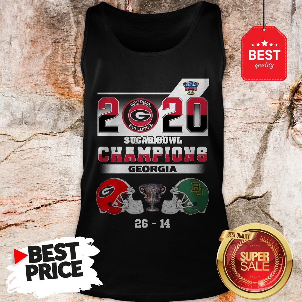 Official Georgia Bulldogs 2020 Sugar Bowl Champions Georgia 26 14 Tank Top