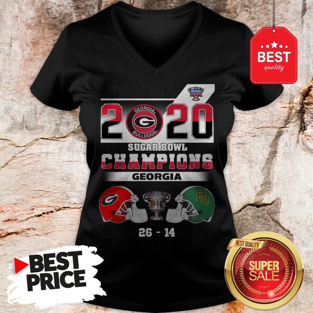 Official Georgia Bulldogs 2020 Sugar Bowl Champions Georgia 26 14 V-Neck