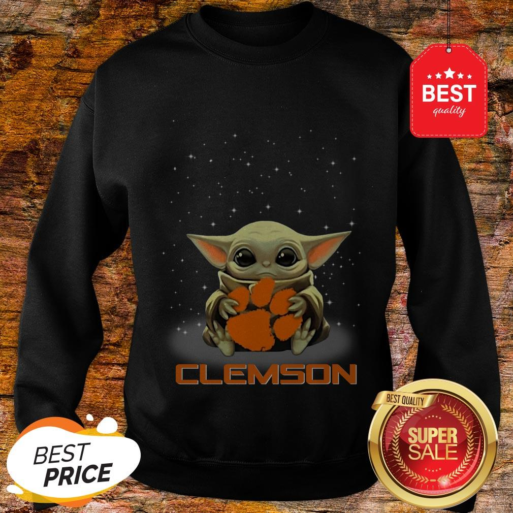 Official The Star Wars Baby Yoda Hug Clemson Tigers Sweatshirt