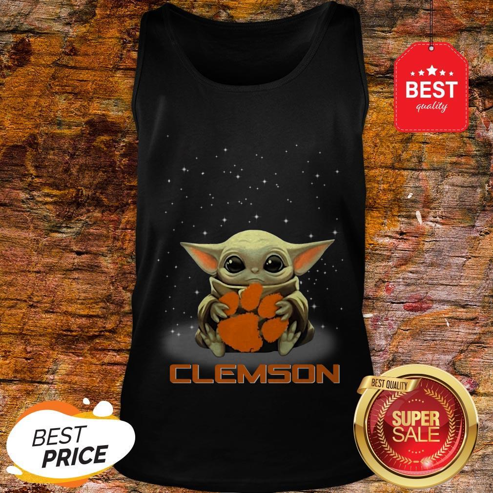 Official The Star Wars Baby Yoda Hug Clemson Tigers Tank Top