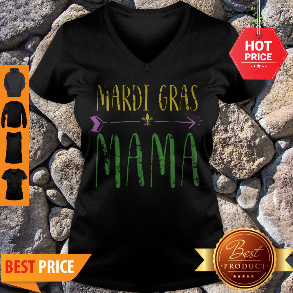 Original Mardi Gras Mama Funny New Orleans Vintage V-neck