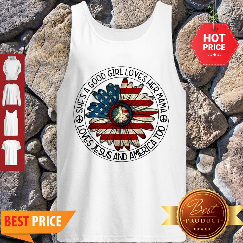 Original Patriotic Girl Loves Her Mama Jesus & America Daisy Tank Top