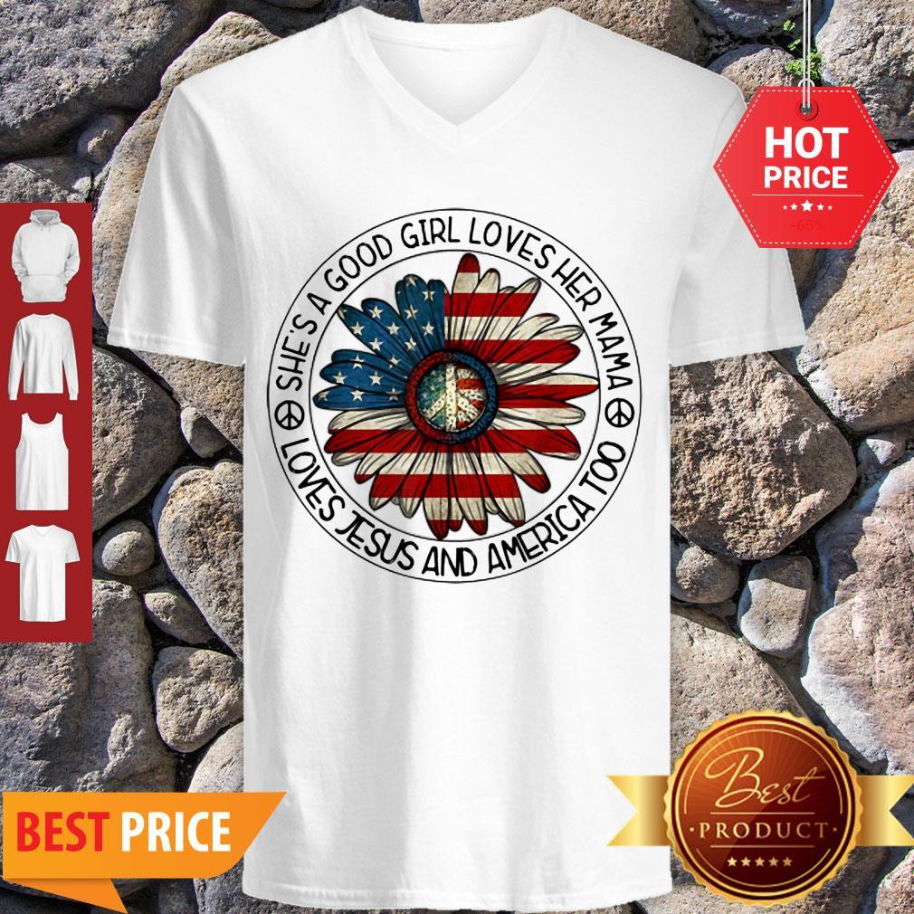 Original Patriotic Girl Loves Her Mama Jesus & America Daisy V-neck