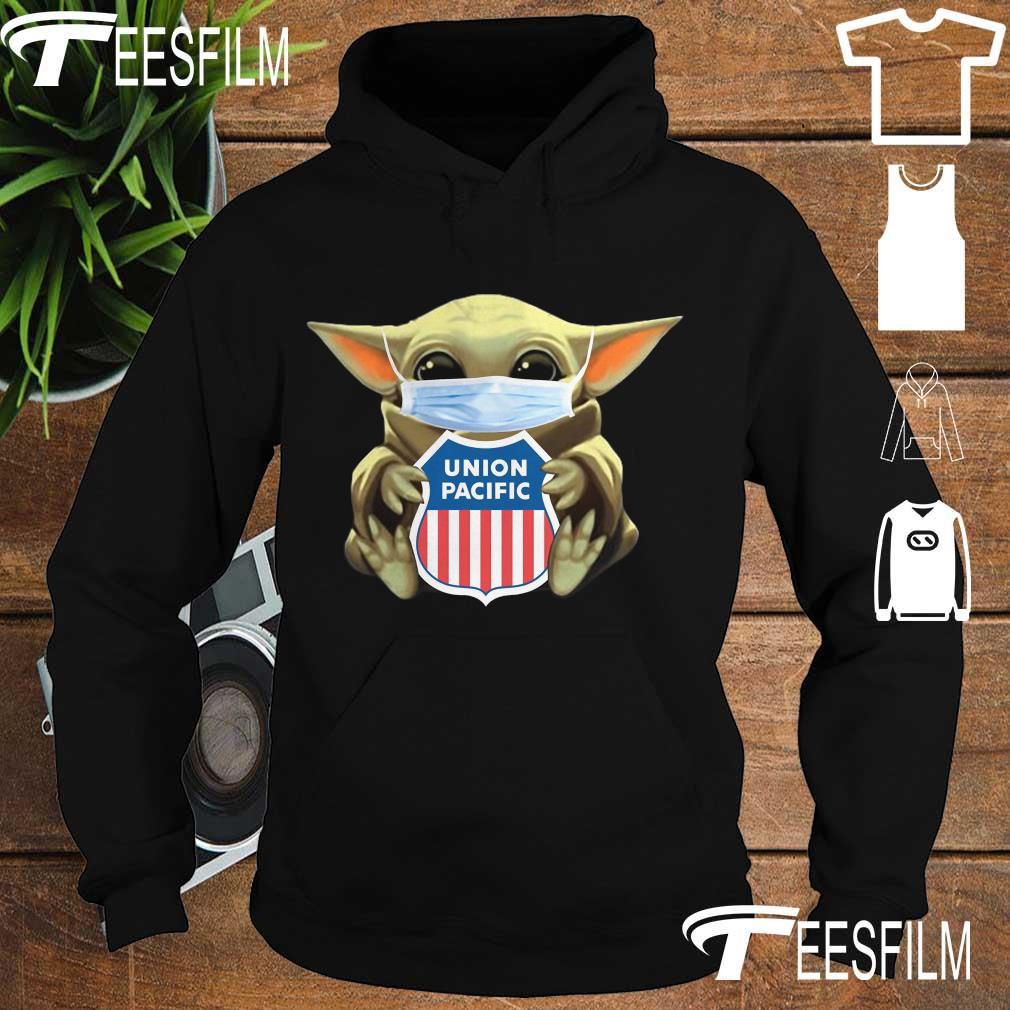 Baby Yoda face mask hug Union Pacific Railroad s hoodie