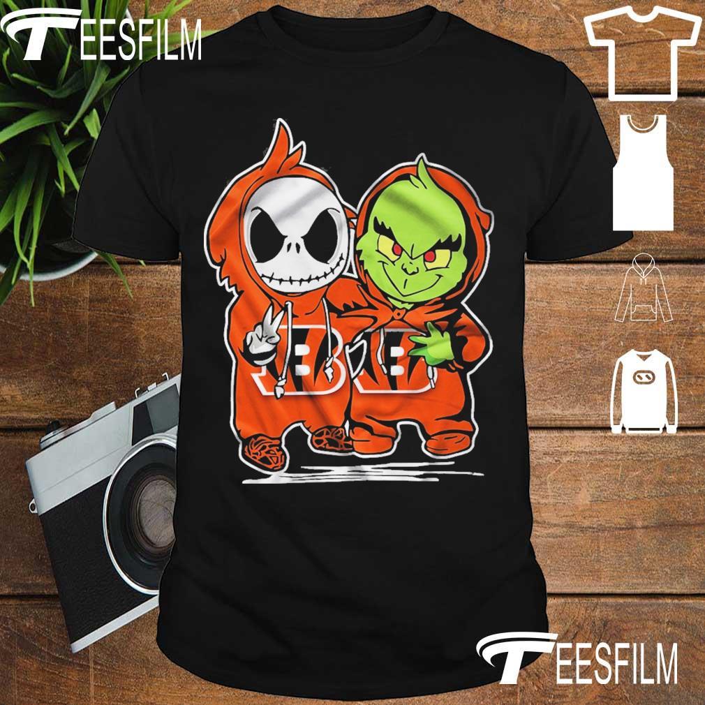 Baby Skeleton and Baby Grinch Bengals Baseball shirt