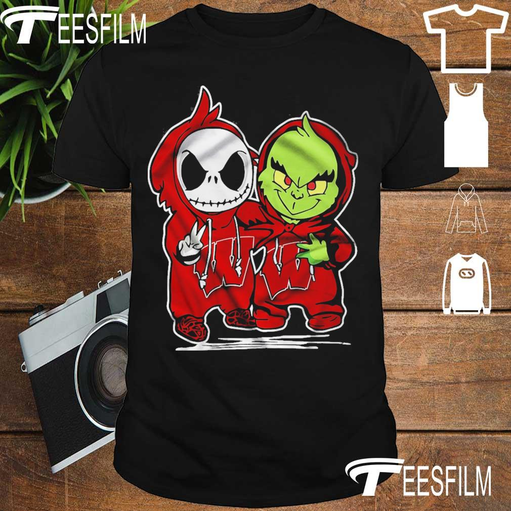 baby skeleton and Baby Grinch Wisconsin Badgers shirt