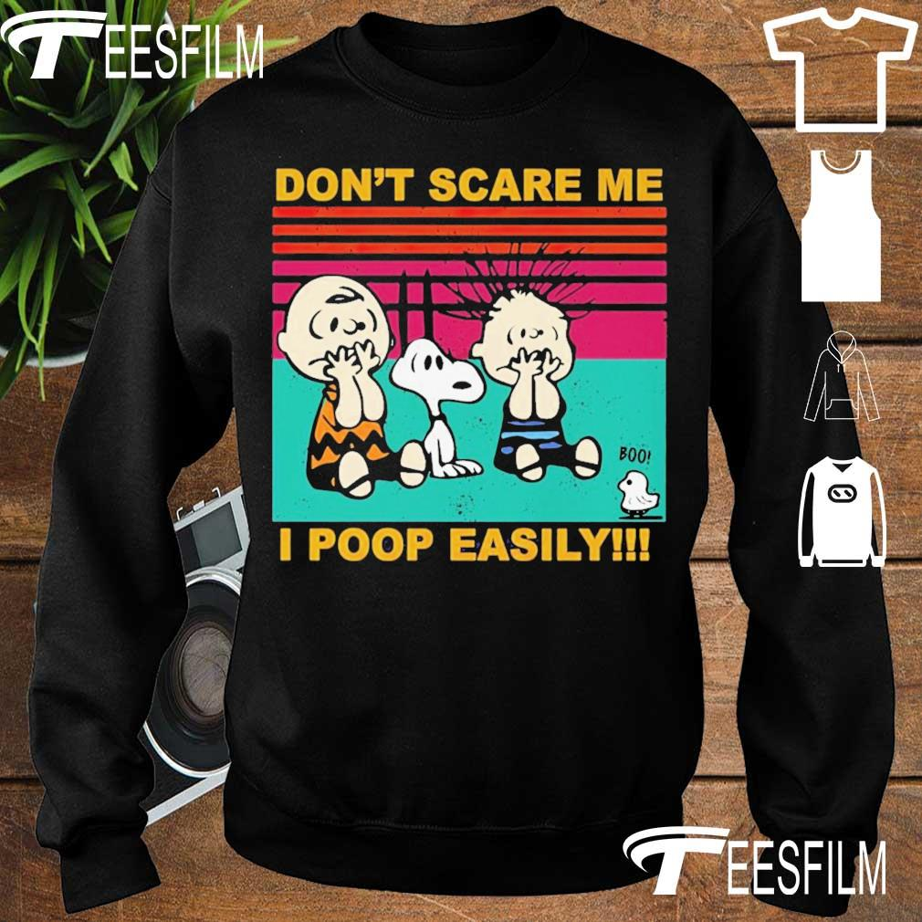 Charlie Brown Snoopy and friends don't scare me I poop easily vintage s sweater