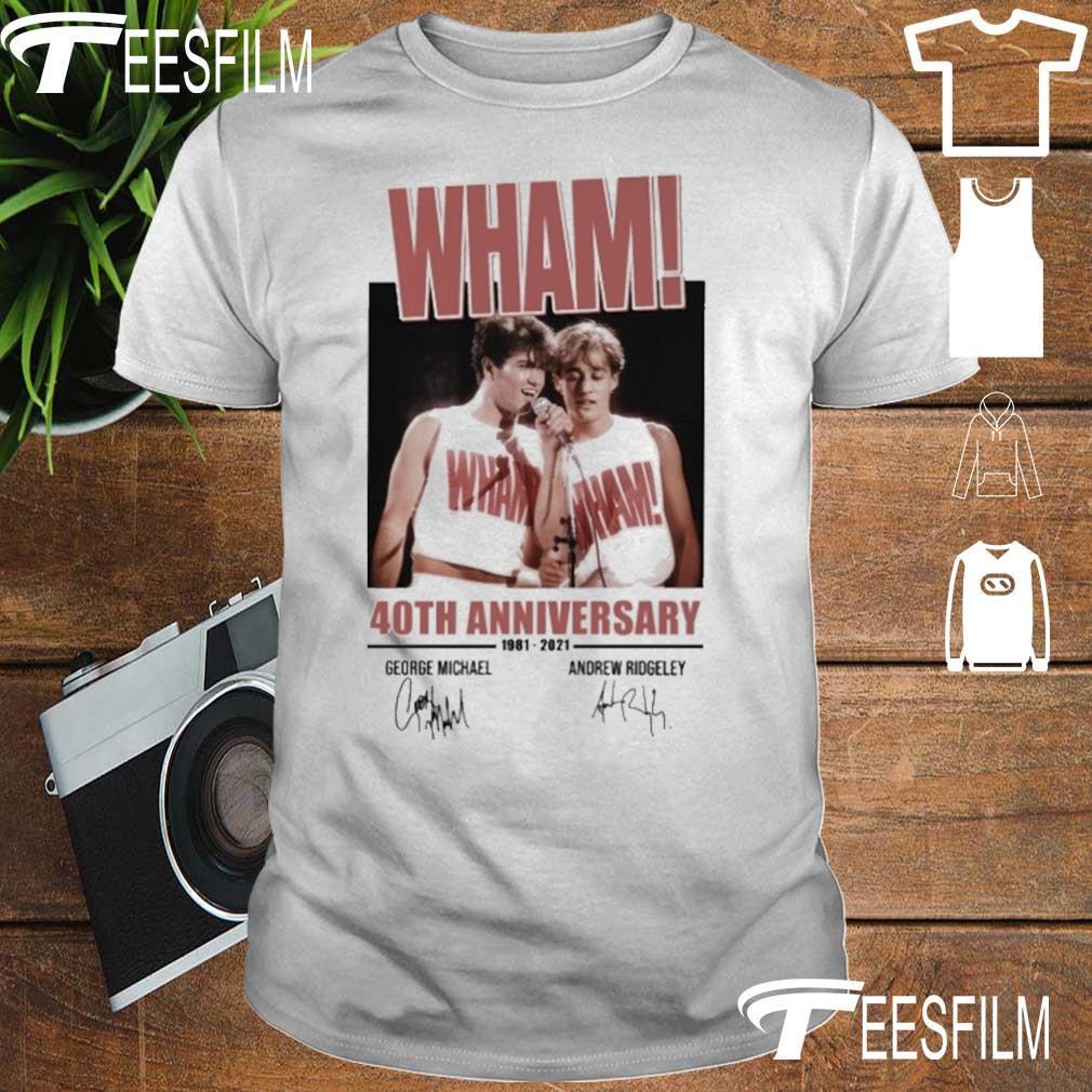 Wham 40TH Anniversary 1981 2021 George Michael Andrew Ridgeley signatures shirt