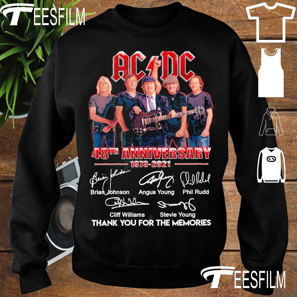 Official AC DC 48TH Anniversary 1973 2021 thank you for the memories signatures s sweater