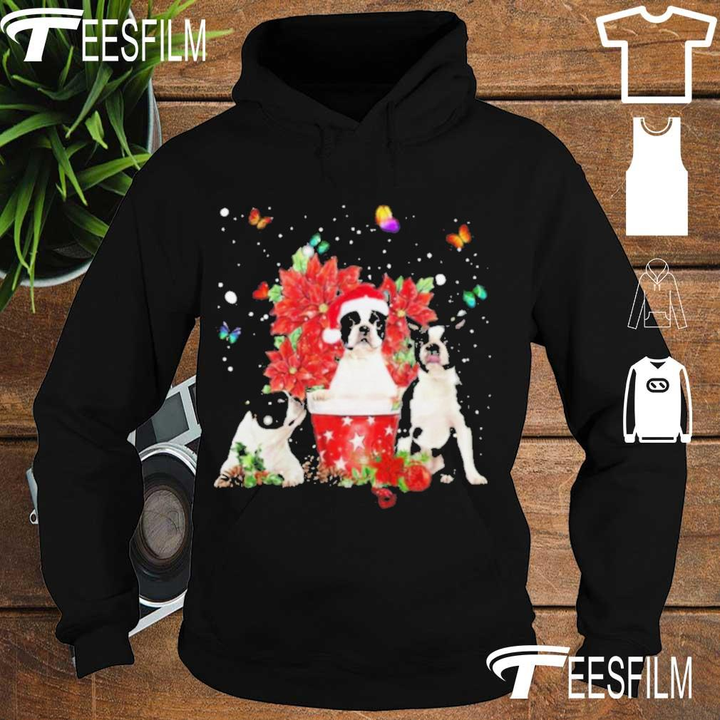Official Cute Boston Terrier With Poinsettia Flower Christmas Shirt hoodie