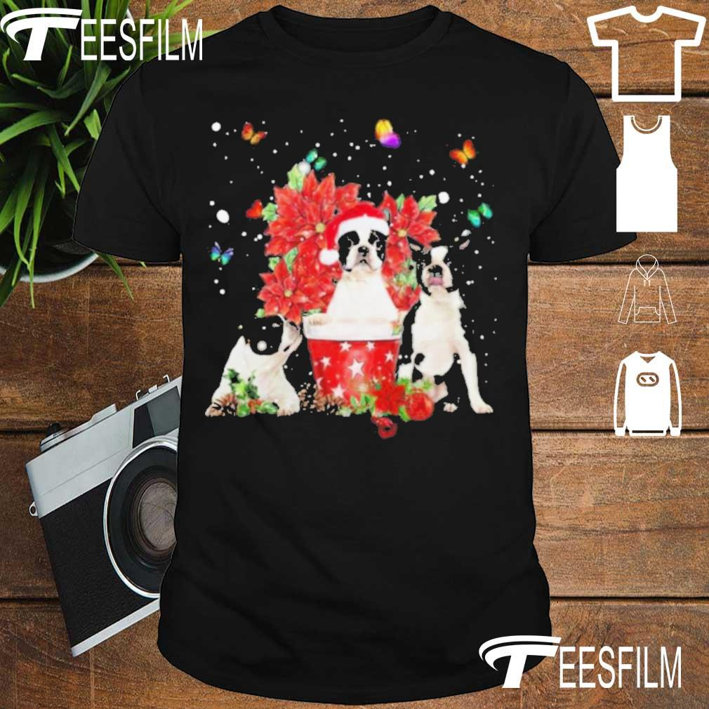 Official Cute Boston Terrier With Poinsettia Flower Christmas Shirt