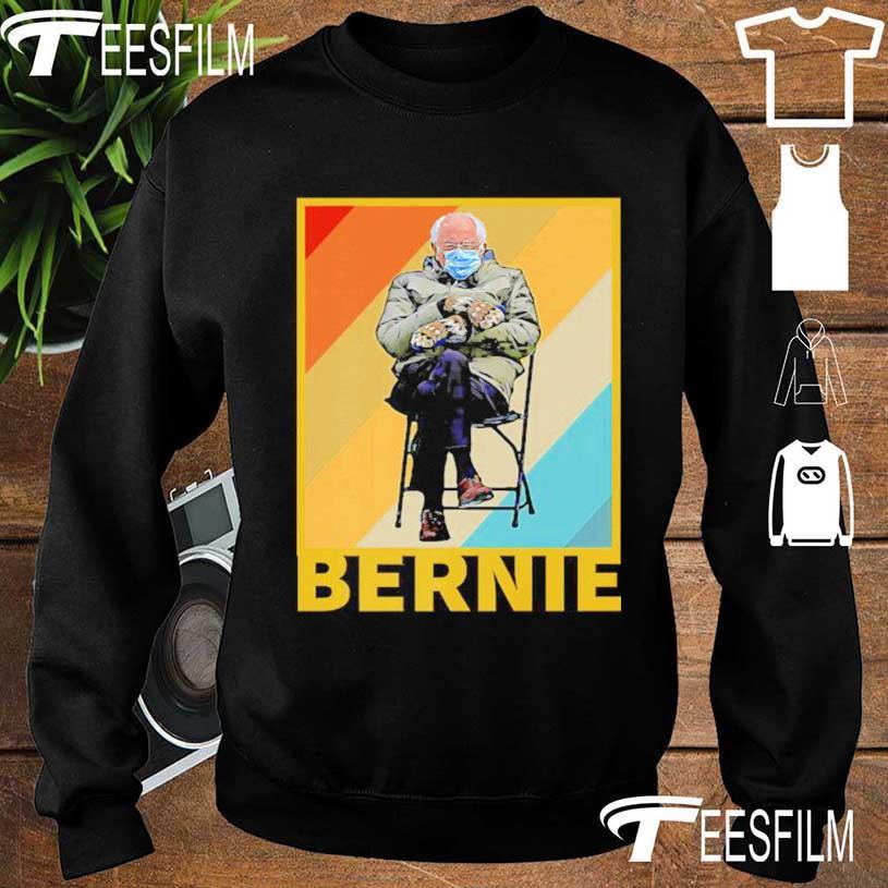 Funny Mittens Sitting In Chair Sweatshirt Bundled Up Bernie Meme